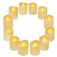 Colore: Bianco | Dimensione: 3.6 * 4.2CM  Sei stanco di candele tradizionali che si sciolgono, gocciolano, fumo, rischio di incendio quando si accende?  QHYK LED Candle Lights sono senza calore! Senza fiamma! Senza cera! Queste luci di tè 3D ...