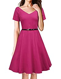 LUOUSE 40s 50s 60s Vintage V-neck Swing Rockabilly Pinup Ball Gown Party Dress