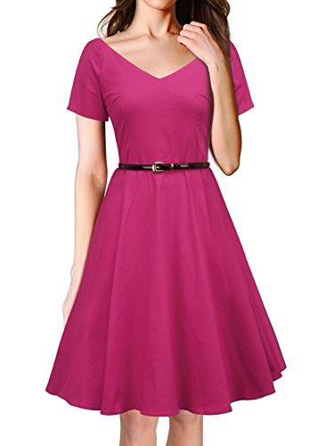 LUOUSE Rétro Vintage années 50 's Style Audrey Hepburn Rockabilly Swing, Robe de Bal à Manches Courtes avec Ceinture A026-Rose