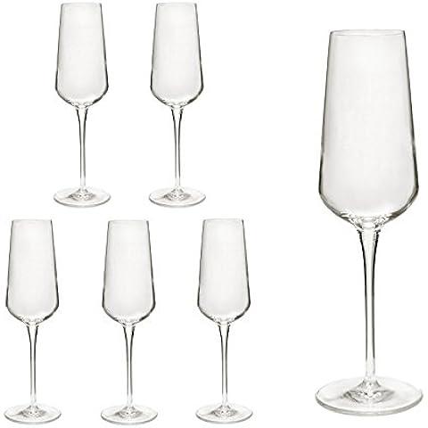 Set di 6bicchieri da spumante/champagne flute da Champagne/inalto bicchieri in vetro cristallo di prima qualità, migliore resistenza alla rottura, design in filigrana
