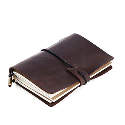 Notizbuch Leder,Tonpop Notizbücher Leder Reisetagebuch Nachfüllbar Seiten Tagebuch Klassische Vintage-Stil Travelers Notebook,Geschenke für männer & Frau Handgefertigt Travel Journal,13.5cm × 10.5cm, 5.1 × 4.1'' (Dunkelbraun)
