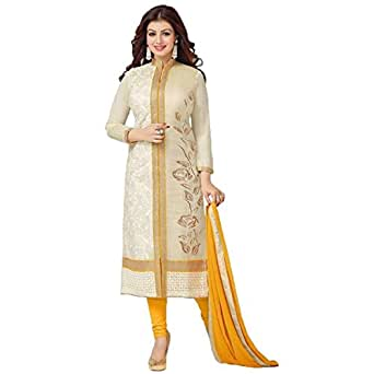 AwesomeFab Semi-Stitched Salwar Suit (Off-White and Yellow)