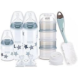 NUK Kit Biberons First Choice+ (300ml x2 et 150ml x1) avec goupillon, Tétines et boîte doseuse pour la poudre de lait, 0-6 Mois, anti colique, Sans BPA, bleu