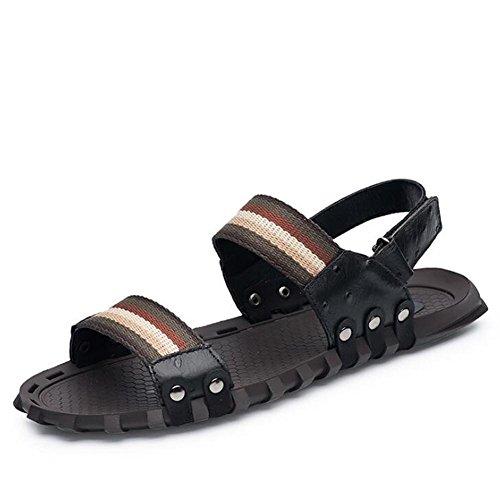 Männer Schuhe aus echtem Leder Sandalen Strand Sommer offene Zehe ziehen auf Slipper atmungsaktive Folien rutschfeste weiche Sohlen Größe 38 bis 45 , Schwarz , EU41 (Clogs Schwarze Folien)