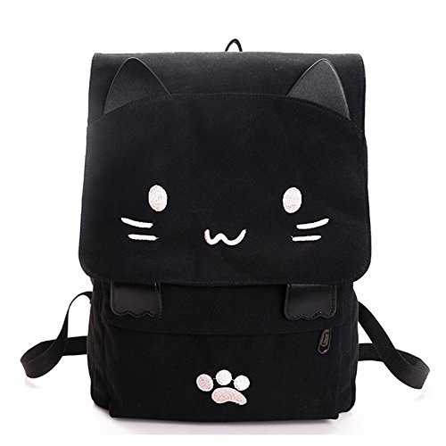SODIAL moda Carino gatto ricamo tela studente borsa cartoni animati donne zaino sacchetto di scuola per il tempo libero nero & bianco