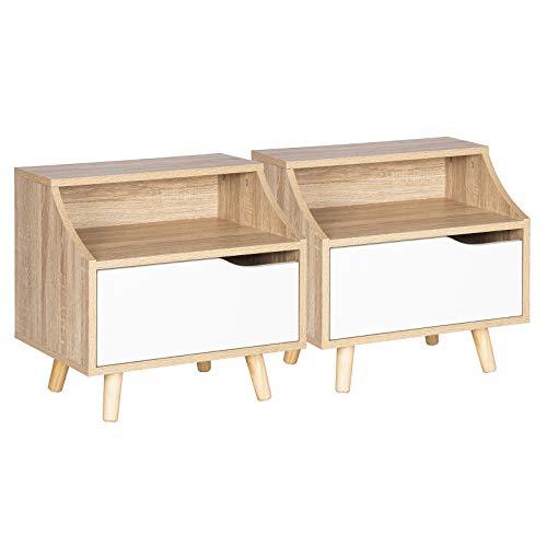 WOLTU 2 X Table de Chevet avec tiroir et Compartiment Ouvert,Table Basse Table de Nuit avec Pattes en Bois,Chêne Clair 46,5x35x50cm (LxPxH) TSR56hei-2