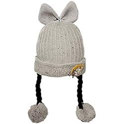 MXJEEIO- Niños Niñas Sombreros de Punto Gruesa para Bebé Invierno Caliente Gorro con Orejeras de Escorpion Color Sólido Casquillo de Bola de Pelo Beanie Gorras de Croché para Recién Nacido 0-3 Años