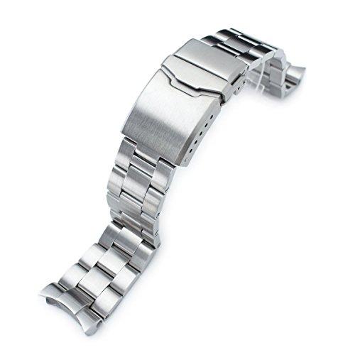 Seiko - Cinturino Super Oyster da 22 mm per orologio SEIKO Diver SKX007, SKX009, spazzolato, chiusura bisellata
