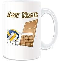 Personalised Gift-Grande tazza Mug, motivo: Pallone da pallavolo, motivo Sport, colore bianco, con nome e messaggio sulla tazza-Ball FIVB-Pallone da Unique