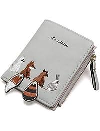 357a91a6cc1b Portefeuille pour Femme Lovely Animals Short en Cuir avec Petit  Porte-Monnaie Zipper Kid Purse