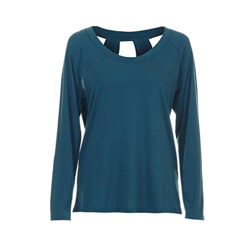 Tops-FRIENDGG Langarmshirts, Damen O-Hals Rückenfrei Lange Ärmel Lose Baumwollbluse Tops T-Shirt (Blue, XL) (Cashmere Cami)