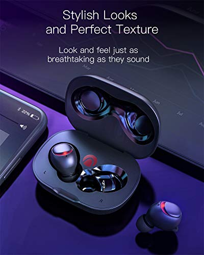 Cuffie Wireless, AIRAUX Auricolari True Wireless bluetooth 5.0 Facile-Pair Cuffia Senza Fili Suono Stereo IPX6 impermeabile 10H Playtime con Microfono Incorporato(Nero)