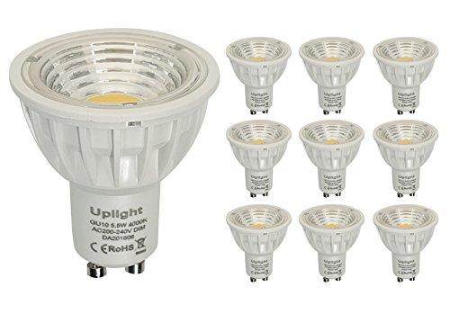 Regulable 5.5W GU10 LED Bombillas Blanco Natural 4000k Equivalentes 50-60W Halógenas 550LM...