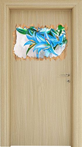schöne blaue Blumen im Körbchen Kunst Buntstift Effekt Holzdurchbruch im 3D-Look , Wand- oder...