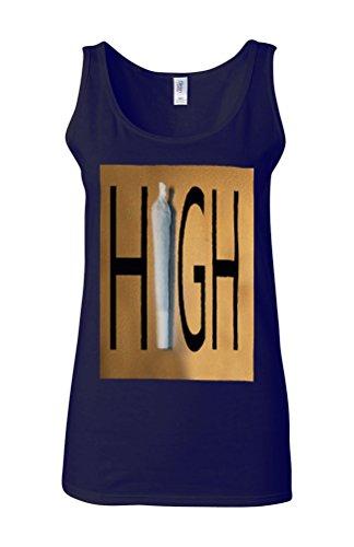Weed High Joint Gold Novelty White Femme Women Tricot de Corps Tank Top Vest Bleu Foncé