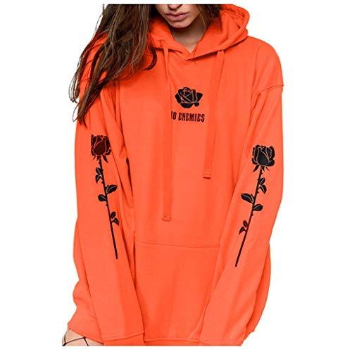 GOKOMO Kapuzenpullover Damen Schwarz Baumwolle Hoodie Teenager MäDchen Elegant Rose Gedruckt Sweatshirt Mit Kaputze Mode Oberteile LäSsige Langarm Sport Pullover Pulli T-Shirt Tops(Orange-B,XX-Large)