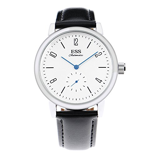 ESS Herren mechanische Automatik Armbanduhr Edelstahl Uhren blau Zeiger