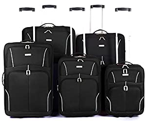 "Eagle Lightweight 18"" 21"" 26"" 29"" 32"" INCH Carry On Cabin TRAVEL Hand Luggage Suitcase 2 Wheeled TROLLEY CART CARRY BAG PULL BAGS Approved for Ryanair Easyjet BLACK"