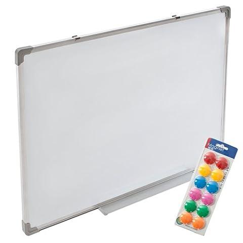 TecTake 2 in 1 Whiteboard und Magnettafel weiß 60x45 cm mit stabilen Aluminium Rahmen und inklusive 12 farbigen Magneten