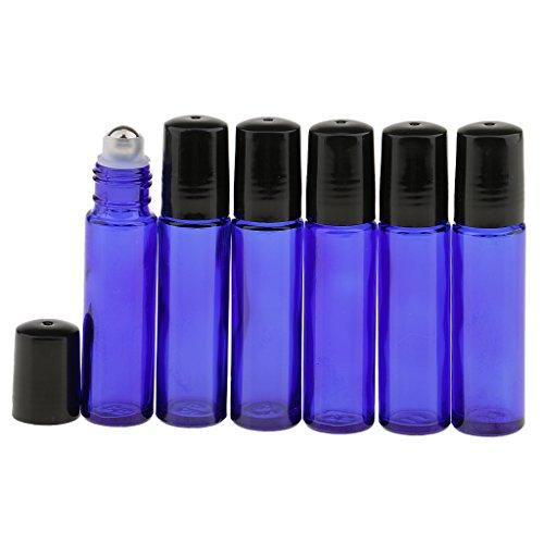 Gazechimp 6 Stück Roll-on Glasflaschen für ätherisches Öl 10ml (1/3 Unze) Aromatherapie Öl nachfüllbar Flaschen mit Roller Ball - Blau 1 Unze Blauen Glasflaschen