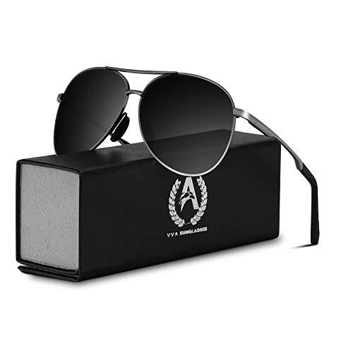 VVA Gafas de sol Hombre Polarizadas Aviador Hombres Aviador Gafas de sol Polarizadas Hombre Unisex Protección UV400 por V101(Negro/Gun)