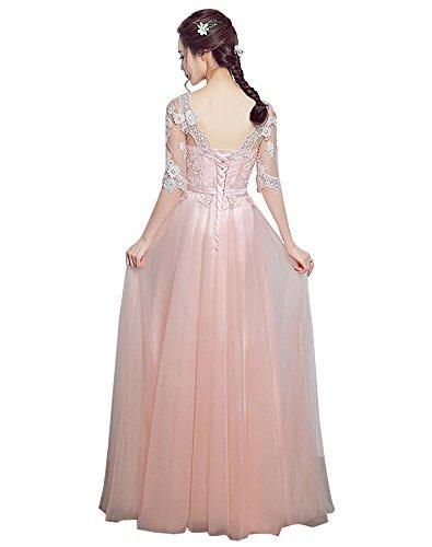 Erosebridal Tüll Abendkleider 2017 Spitze Appliques Halbarm Parteikleid Rosa