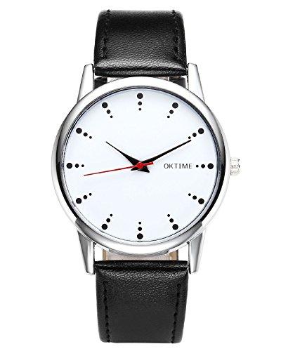 JSDDE Unisexe Montre Bracelet Quartz Montre de Visite Classique Boîtier Blanc Argent PU Cuir (Noir)