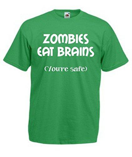 Funny Herren Halloween T-Shirt Zombies eat Brains Gr. XX-Large, Kelly (Für Up Custom Halloween Dressing)