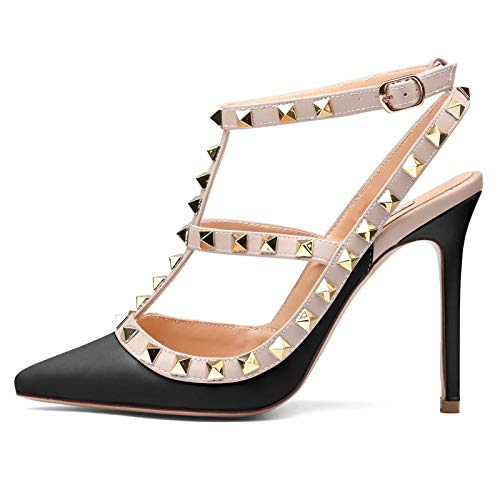 b3f3efb9bbe37 Chris-T Women Pointed Toe Studded Strappy Slingback High Heel Leather  Escarpins Stilettos Heeled Sandals