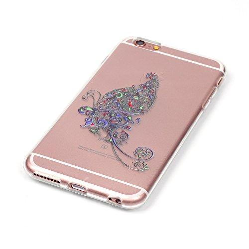 iPhone 6S Plus Hülle,iPhone 6 Plus Hülle,iPhone 6S Plus / 6 Plus Schutzhülle Case,ikasus® TPU Silikon Schutzhülle Case Hülle für iPhone 6S Plus / 6 Plus,Durchsichtig mit Blumen Rebe Schmetterling Blum Schmetterlings Blumen Rebe