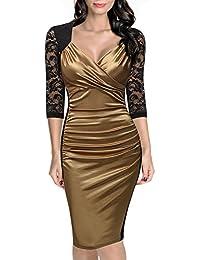 Miusol® Damen Abendkleid Elegant V-Neck Kleid Spitzen 3/4 Arm Wickelkleid Cocktailkleid Blau Gr.S-XXL