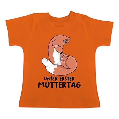 er erster Muttertag mit Füchsen - 3-6 Monate - Orange - BZ02 - Baby T-Shirt Kurzarm ()