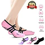 Buluri Yoga Socken Anti-Rutsch Pilates Gymnastik Tanz Fußbodensocken für Frauen( 3 Paare)