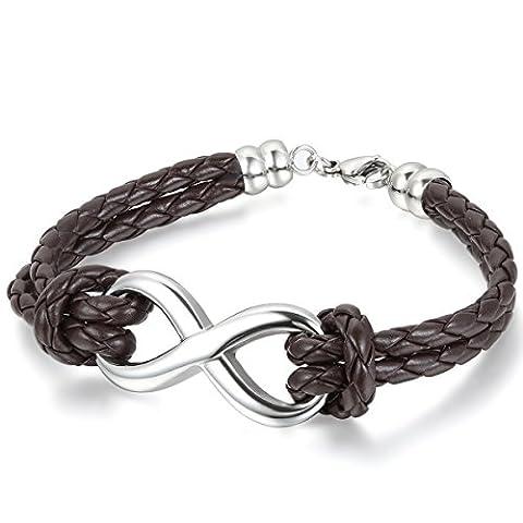 JewelryWe Infinity Love Charm Bangle Leather Stainless Steel Bracelet for Men Women, brown