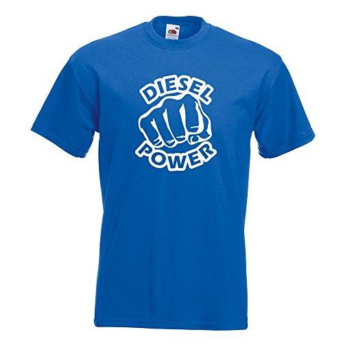 KIWISTAR - Diesel Power Schlag Faust T-Shirt in 15 verschiedenen Farben - Herren Funshirt bedruckt Design Sprüche Spruch Motive Oberteil Baumwolle Print Größe S M L XL XXL Royal
