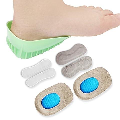 HLYOON® H01 Leather Heel Grips and Heavy Gel Duty Heel Gel Heel Cushions -6Pcs,Heel Pain Relief Cushions, Cups Foot Pads,Heel Inserts,Heel Support