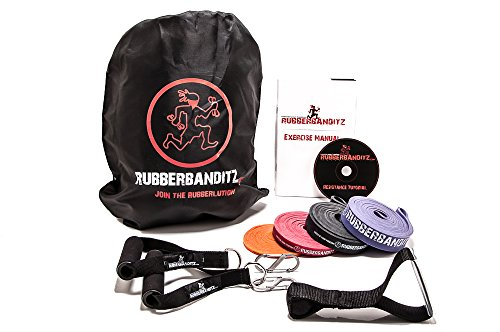 Rubberbanditz Deluxe Mobile Travel Gym Resistance Exercise Band Package Kit Set Mobile Travel Kit