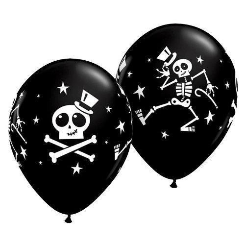 Unbekannt Halloween Dancing Skeleton & Top Hat 27,9cm Qualatex Latex Ballons x 5