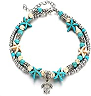 Starfish Turtle Anklets Multiple Layered Boho Gold Chain Anklet Heart Beach Rhinestones Turquoise Stone Charm