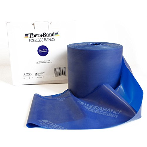 Thera Band in Blau Übungsband und Fitnessband von der Rolle geschnitten in Wunschlänge. Gymnastikbänder für Krafttraining, Physiotherapie, Krankengymnastik und Fitnessstudios. (3 Laufmeter)