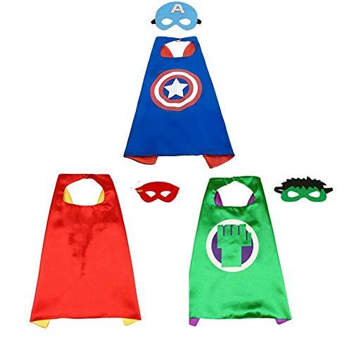 Material Kostüm Captain America Avengers - BJ-SHOP Kinder Umhang Maske, Kostum Kinder die Mantel Jungen und Madchen Superheld Spielwaren fur Geburtstag und Kinderkostum Partei Zurechtmachen