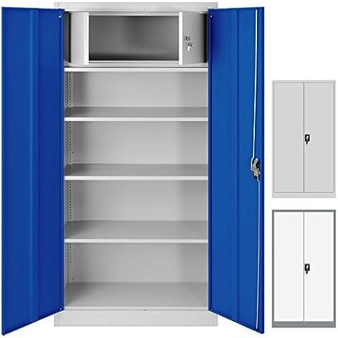 Büroschrank C001D Geheimfach Aktenschrank Metallschrank Universalschrank Flügeltürschrank Stahlschrank Lagerschrank Ideal für Büro Verschließbar (grau/blau)