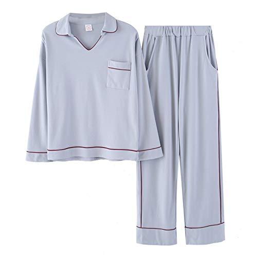 TENGTENGCAI Pyjama Sets Frauen Mädchen Neue mit Tasche Pyjama Set Elastischer Bund Stricken Baumwolle Lounge XL - Stricken Lounge-set
