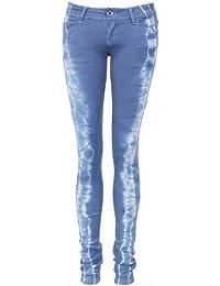 Jean skinny bleu à effet tie dye