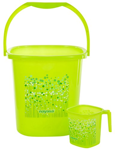 Nayasa 2 Piece Plastic Bucket and Mug Set, Green