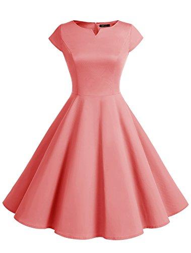 Wedtrend Damen 50er Swing Kleid Vintage Cap Sleeves Rockabilly Kleid Retro Hepburn Stil WTP10002 Coral S