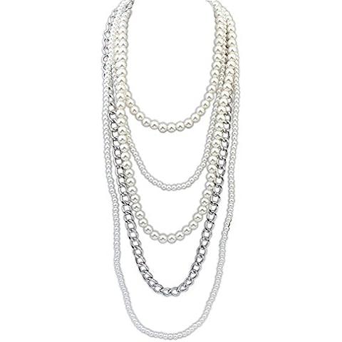 Multistrato filo catena bianco perle finte perle di Flapper Cluster lunga girocollo collana