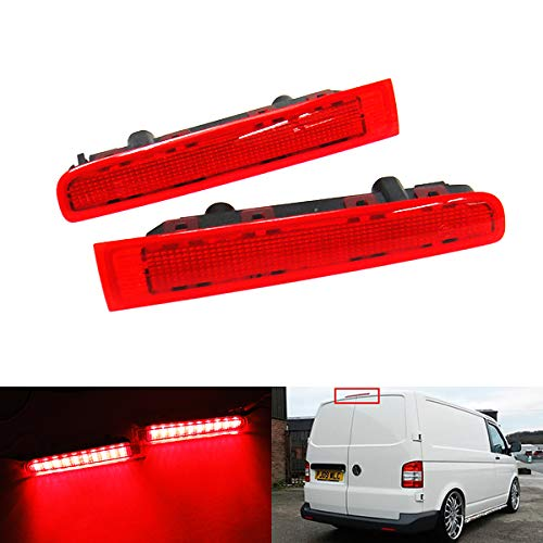 2 x rouge objectif LED arrière Barn Door Centre de haut niveau Troisième Frein Feu stop gauche droite pour 2003-15 Volks Transporter T5 Caravelle Multivan MK V