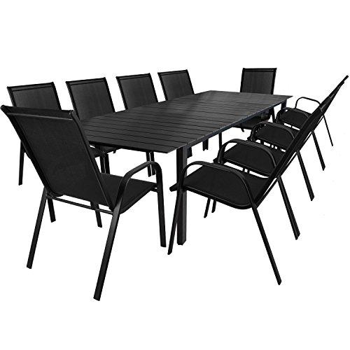 Multistore 2002 11tlg. Gartengarnitur Aluminium Gartentisch ausziehbar mit Polywood – Tischplatte 220/280x95cm Stapelstühle Textilenbespannung Gartenstuhl Sitzgruppe Sitzgarnitur