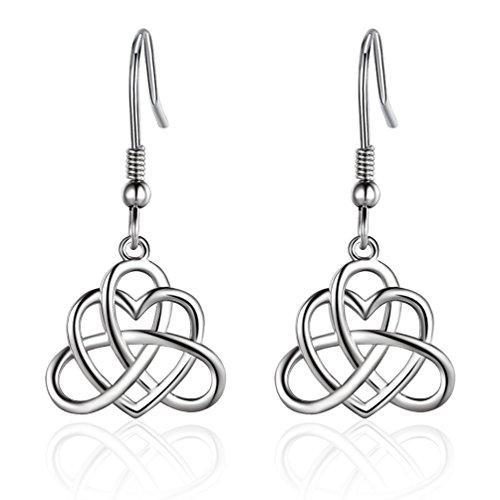 Sterling Silber Vintage Irish Celtic Knoten Triangle Love Herz baumeln Ohrring (Magnet Ohr-manschette)